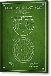 Life Saving Buoy Boat Patent From 1888 - Green Acrylic Print by Aged Pixel