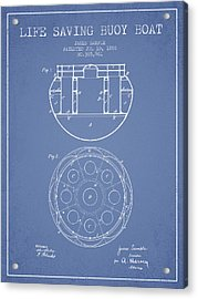 Life Saving Buoy Boat Patent From 1888 - Light Blue Acrylic Print by Aged Pixel