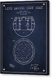 Life Saving Buoy Boat Patent From 1888 - Navy Blue Acrylic Print by Aged Pixel