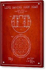 Life Saving Buoy Boat Patent From 1888 - Red Acrylic Print by Aged Pixel