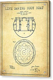 Life Saving Buoy Boat Patent From 1888 - Vintage Acrylic Print by Aged Pixel