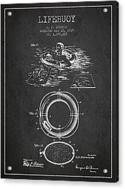Lifebuoy Patent From 1919 - Charcoal Acrylic Print by Aged Pixel