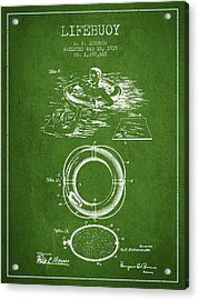 Lifebuoy Patent From 1919 - Green Acrylic Print by Aged Pixel