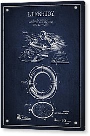 Lifebuoy Patent From 1919 - Navy Blue Acrylic Print by Aged Pixel