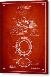 Lifebuoy Patent From 1919 - Red Acrylic Print by Aged Pixel