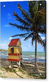 Lifeguard Hut On A Beach Acrylic Print by George Oze