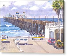 Lifeguard Trucks At Oceanside Pier Acrylic Print by Mary Helmreich