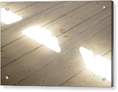 Light Beams On Covered Bridge Floor Acrylic Print by Claudia Smaletz