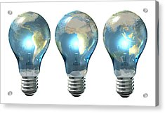 Light Bulb World Globe Series Acrylic Print by Allan Swart