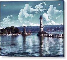 Lighthouse At Lindau Acrylic Print by Georgiana Romanovna