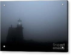 Lighthouse In Fog Acrylic Print by Diane Diederich