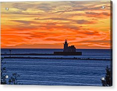 Lighthouse In Silhouette Acrylic Print by Frozen in Time Fine Art Photography