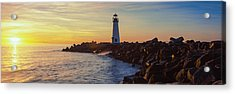 Lighthouse On The Coast At Dusk, Walton Acrylic Print by Panoramic Images