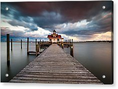 Lighthouse - Outer Banks Nc Manteo Lighthouse Roanoke Marshes Acrylic Print by Dave Allen