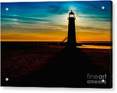 Lighthouse Silhouette Acrylic Print by Adrian Evans