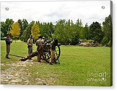 Lighting The Fuse Of A Civil War Canon Acrylic Print by Bob Sample