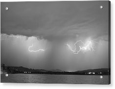 Lightning And Rain Over Rocky Mountain Foothills Bw Acrylic Print by James BO  Insogna