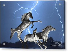 Lightning At Horse World Bw Color Print Acrylic Print by James BO  Insogna