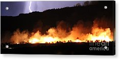 Acrylic Print featuring the photograph Lightning During Wildfire by Bill Gabbert
