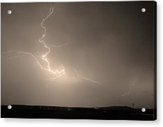 Lightning Goes Boom In The Middle Of The Night Sepia Acrylic Print by James BO  Insogna