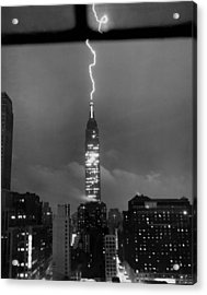 Lightning Hits Empire State Acrylic Print by Underwood Archives