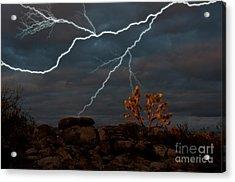 Lightning, Joshua Tree Highway Acrylic Print by Mark Newman