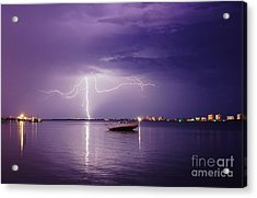 Lightning On The Indian River Acrylic Print by Lynda Dawson-Youngclaus