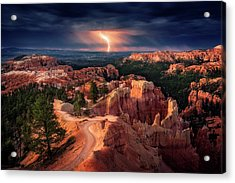 Lightning Over Bryce Canyon Acrylic Print by Stefan Mitterwallner