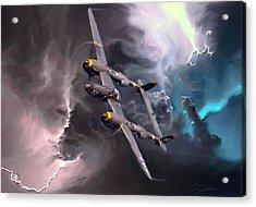 Lightning Strike Acrylic Print by Peter Chilelli