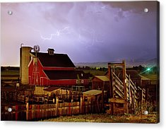 Lightning Strikes Over The Farm Acrylic Print by James BO  Insogna