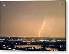 Lightning Striking Over Coot Lake And Boulder Reservoir Acrylic Print by James BO  Insogna