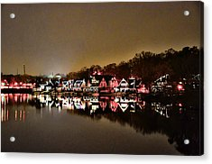Lights On The Schuylkill River Acrylic Print by Bill Cannon