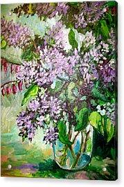Lilacs Acrylic Print by Carol Mangano