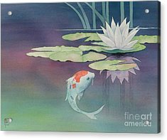 Lily And Koi Acrylic Print by Robert Hooper