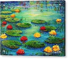 Lily Pond Acrylic Print by Teresa Wegrzyn