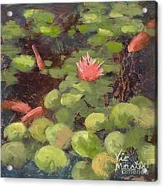 Lily Pond With Gold Leaf By Vic Mastis Acrylic Print by Vic  Mastis