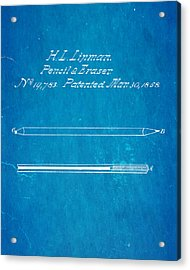 Linman Pencil And Eraser Patent Art 1858 Blueprint Acrylic Print by Ian Monk