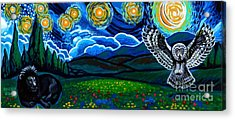 Lion And Owl On A Starry Night Acrylic Print by Genevieve Esson