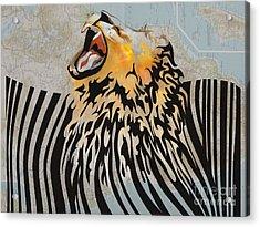Lion Barcode Acrylic Print by Sassan Filsoof
