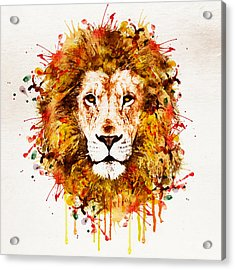 Lion Head Watercolor Acrylic Print by Marian Voicu