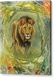 Lion In Abstract Acrylic Print by Paul Krapf