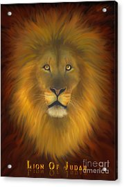 Lion Of Judah Fire In His Eyes 2 Acrylic Print by Constance Woods