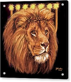 Lion Of Judah - Menorah Acrylic Print by Bob and Nadine Johnston
