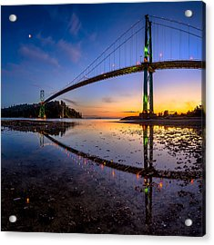 Lions Gate Bridge Reflections Acrylic Print by Alexis Birkill