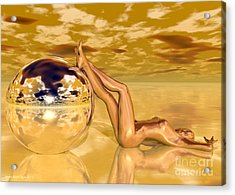 Liquid Gold Acrylic Print by Sandra Bauser Digital Art