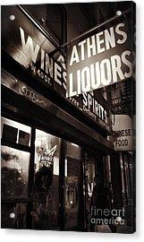 Liquor Shop - New York At Night Acrylic Print by Miriam Danar