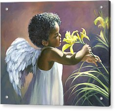 Little Black Angel Acrylic Print by Laurie Hein