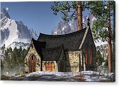 Little Church In The Snow Acrylic Print by Christian Art