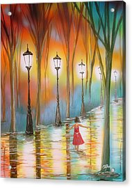 Little Debbie Playing In The Rain Acrylic Print by Chris Fraser