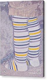 Little Feet-yellow Acrylic Print by Molly McPherson